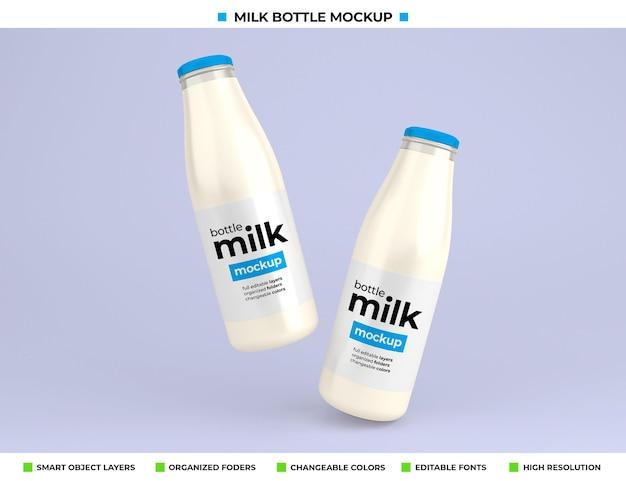 Maquette de bouteille de lait en verre pour l'emballage du produit