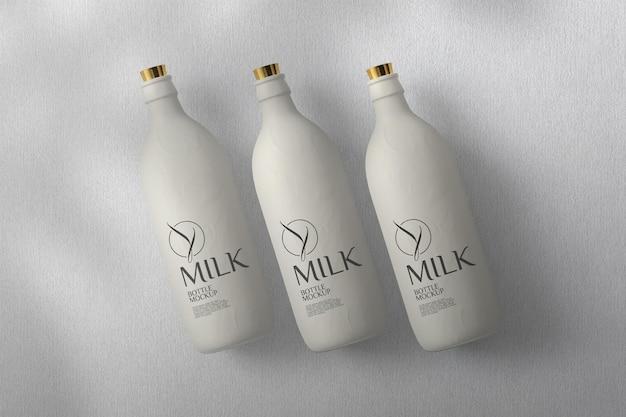 Maquette de bouteille de lait vue de dessus