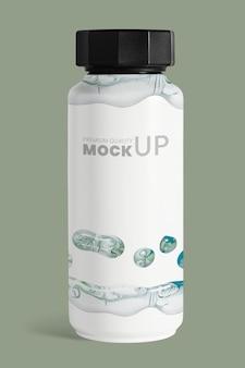 Maquette de bouteille en marbre blanc psd art expérimental fait main
