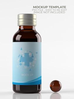 Maquette de bouteille de médicament de sirop