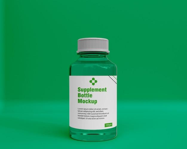 Maquette de bouteille de médicament de supplément brillant 3d