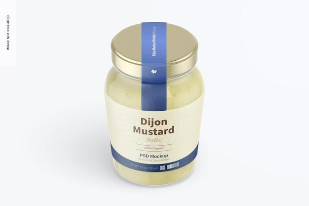 Maquette de bouteille de moutarde de dijon de 7,5 oz, vue isométrique