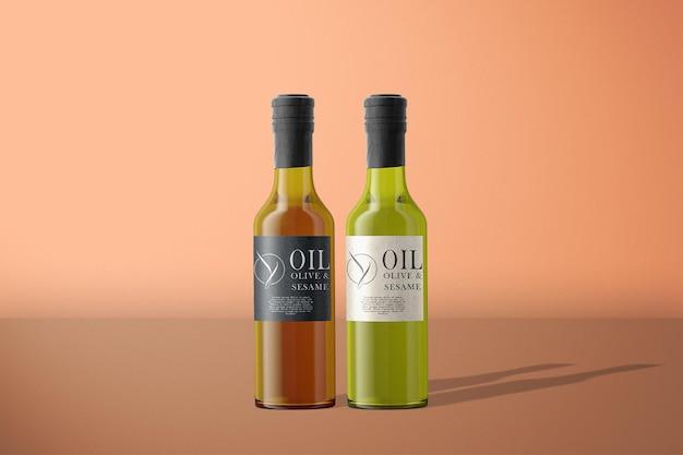Maquette de bouteille d'olive à huile vue de face
