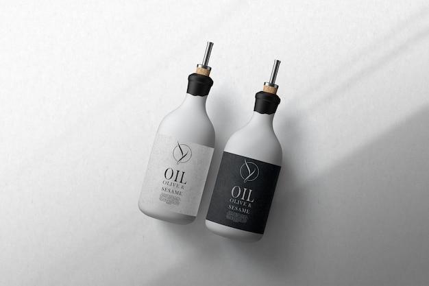 Maquette de bouteille d'olive à l'huile