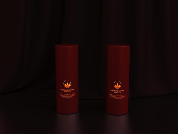 Maquette de bouteille de parfum cosmétique luxueuse en métal sombre