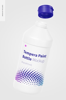 Maquette de bouteille de peinture tempera de 16 oz, flottante
