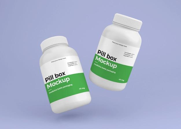 Maquette de bouteille de pilule de médecine avec concept de pharmacie
