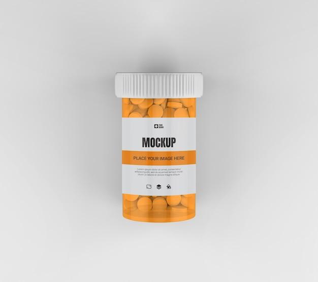Maquette de bouteille de pilule de médecine isolée