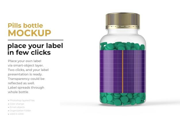 Maquette de bouteille de pilules isolée
