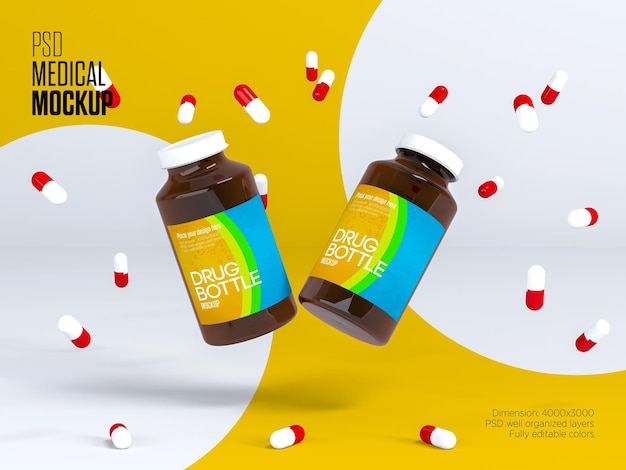 Maquette De Bouteille De Pilules En Plastique PSD Premium