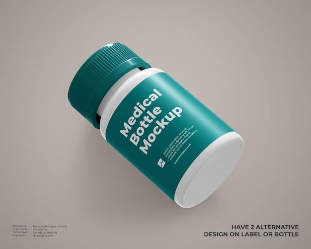 La maquette de bouteille en plastique médicale ressemble à une vue en perspective