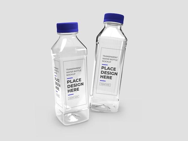 Maquette de bouteille en plastique transparente réaliste