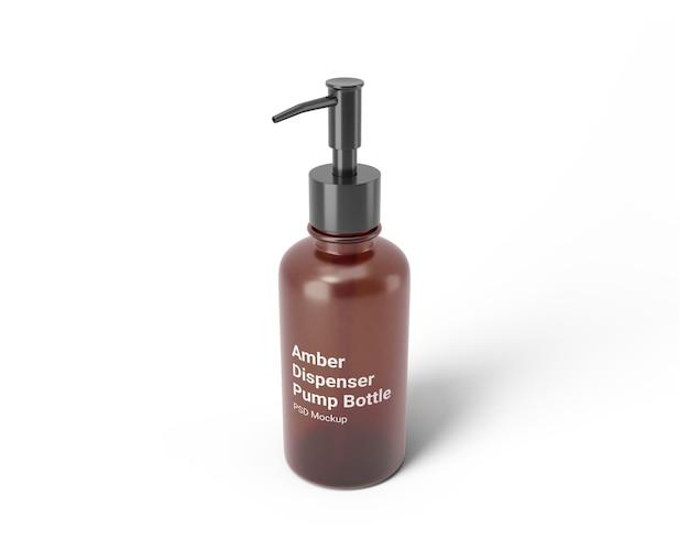 Maquette de bouteille de pompe de distributeur ambre