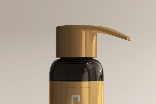 Maquette de bouteille de pompe en verre ambré