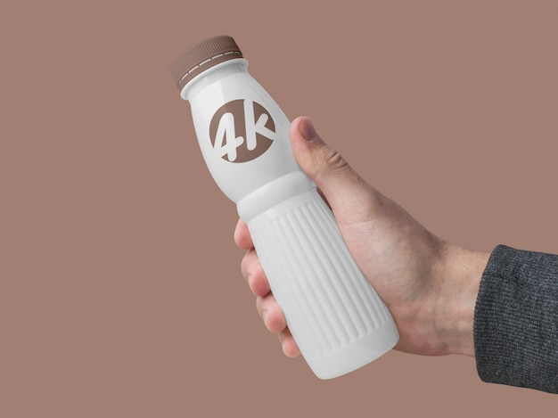 Maquette de bouteille de produit laitier au yogourt