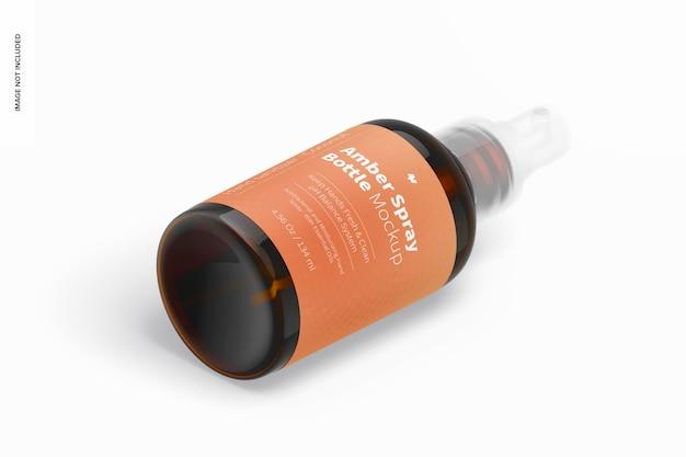 Maquette de bouteille de pulvérisation ambre de 4,56 oz, vue isométrique de gauche