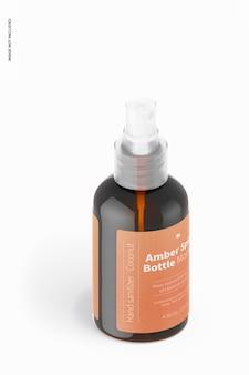 Maquette de bouteille de pulvérisation ambre de 4,56 oz, vue isométrique
