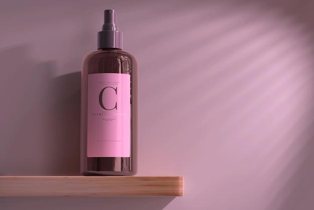Maquette de bouteille de pulvérisation cosmétique en verre ambré