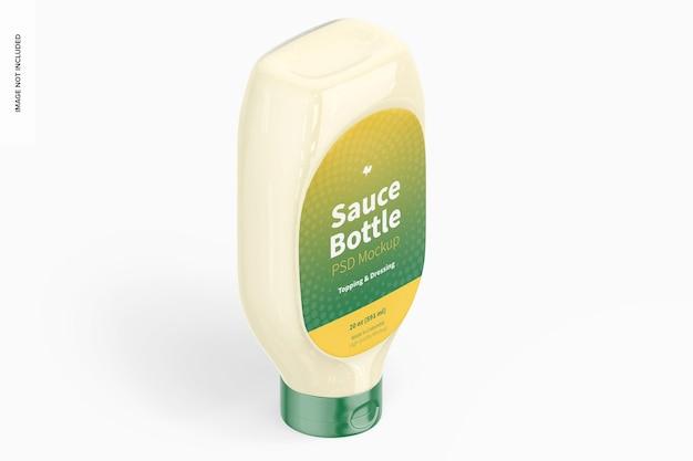 Maquette de bouteille de sauce de 20 oz, vue isométrique