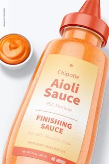 Maquette de bouteille de sauce aïoli chipotle 12 oz