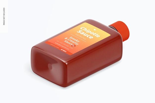 Maquette de bouteille de sauce chipotle de 4 oz, vue isométrique