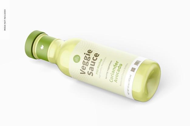 Maquette de bouteille de sauce végétarienne de 12 oz, vue isométrique de gauche