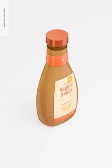 Maquette de bouteille de sauce végétarienne italienne de 16 oz, vue de droite isométrique