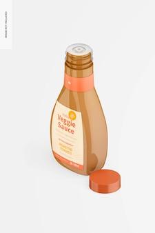 Maquette de bouteille de sauce végétarienne italienne de 16 oz, vue isométrique de gauche