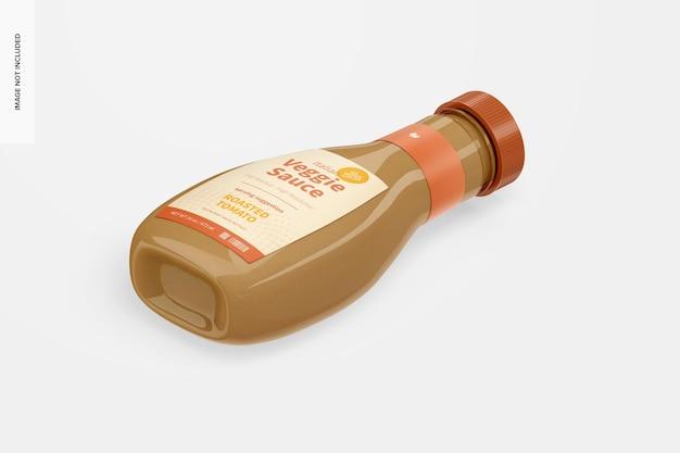 Maquette de bouteille de sauce végétarienne italienne de 16 oz, vue isométrique