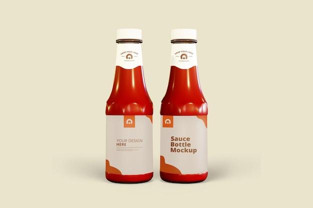 Maquette de bouteille de sauce