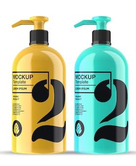 maquette de bouteille de savon brillant isolé
