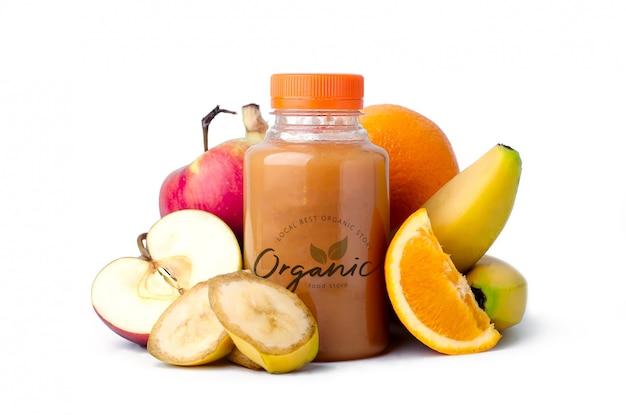 Maquette de bouteille de smoothie aux fruits frais