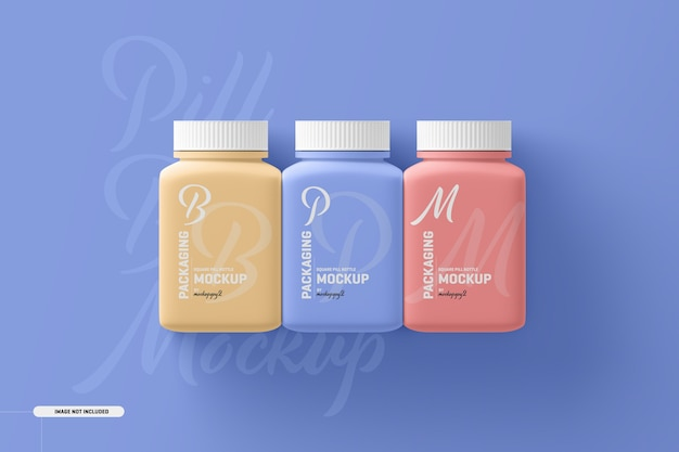 Maquette de bouteille de supplément de pilule carrée moyenne