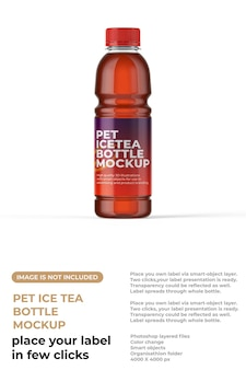 Maquette de bouteille de thé glacé