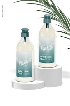 Maquette de bouteille transparente de lotion pour le corps
