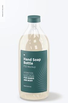 Maquette de bouteille transparente de savon pour les mains, vue de face
