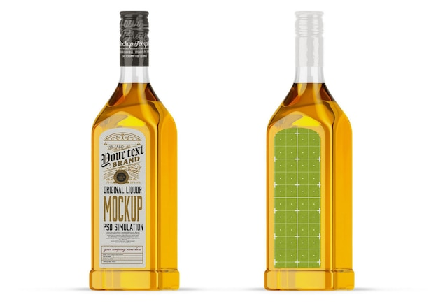 Maquette de bouteille en verre d'alcool