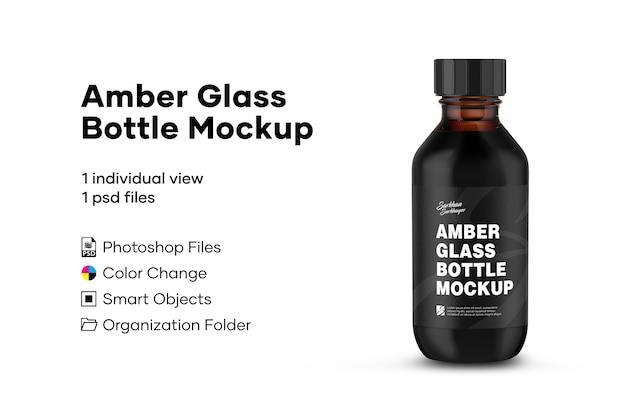 Maquette de bouteille en verre ambré