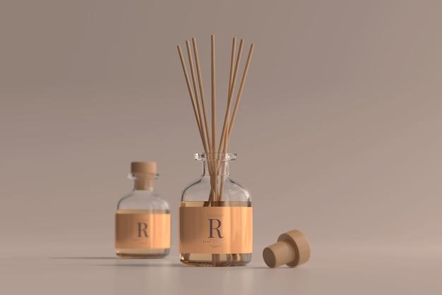 Maquette de bouteille en verre de diffuseur de roseaux de désodorisant d'encens