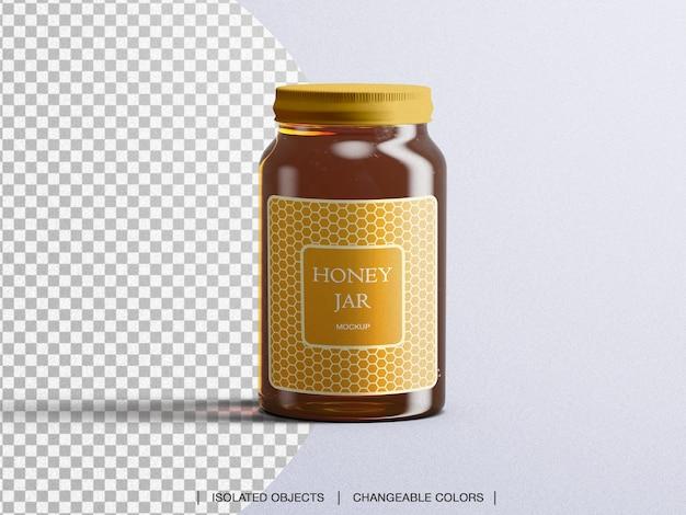 Maquette de bouteille en verre d'emballage de pot de miel isolé