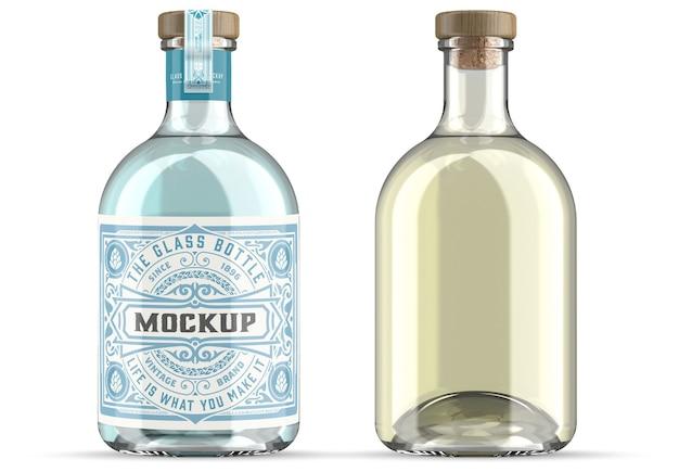 Maquette de bouteille en verre de gin isolé