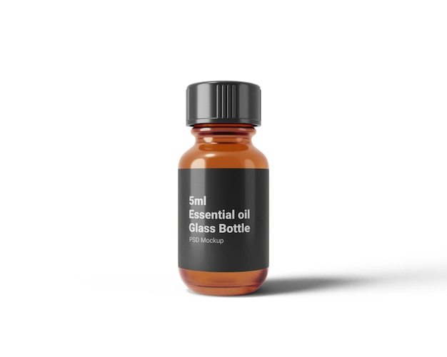 Maquette de bouteille en verre d'huile essentielle de 5 ml