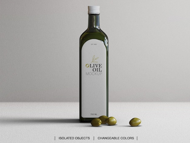 Maquette de la bouteille en verre d'huile d'olive vue de face avec olives