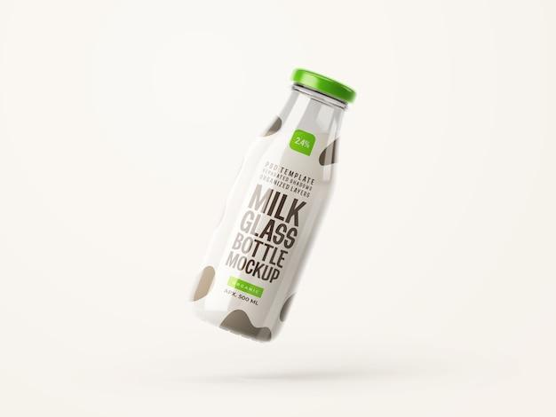 Maquette de bouteille en verre de lait frais