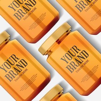 Maquette de bouteille en verre de miel