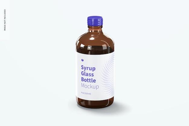 Maquette de bouteille en verre de sirop de 4 oz
