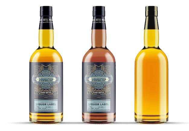 Maquette de bouteille en verre de whisky isolé