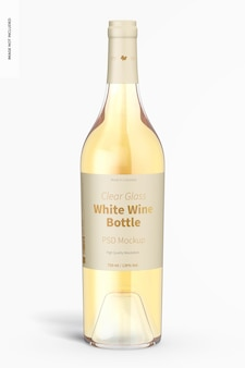 Maquette de bouteille de vin blanc en verre transparent