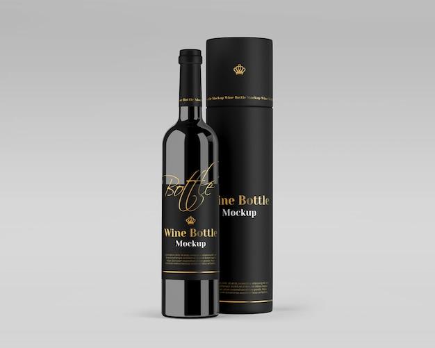 Maquette de bouteille de vin avec boîte ronde