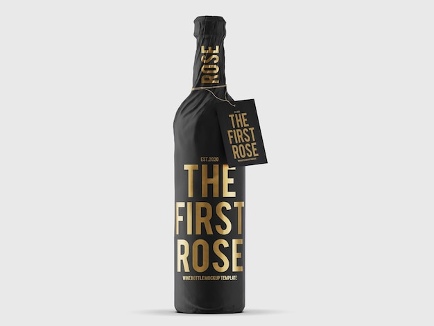 Maquette de bouteille de vin emballée